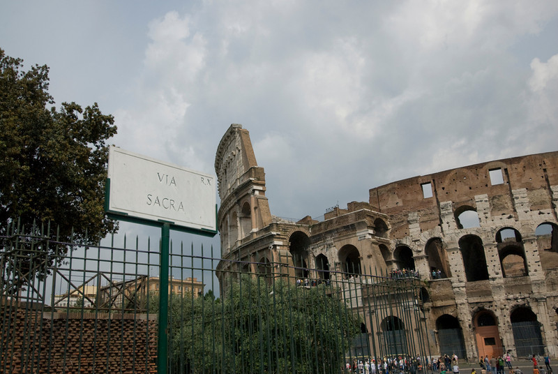 View outside the Colosseum in Rome, Italy