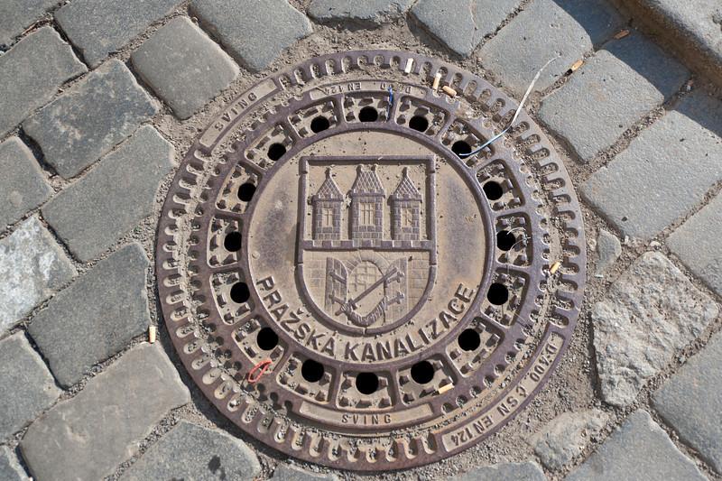 Prague's water company logo and name - Prague, Czech Republic