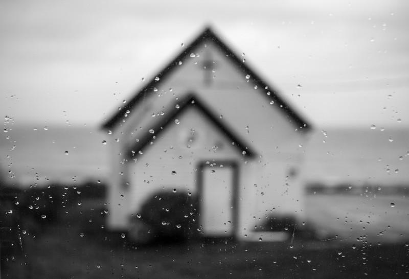 BW Raindrop Cow Bay Church.jpg