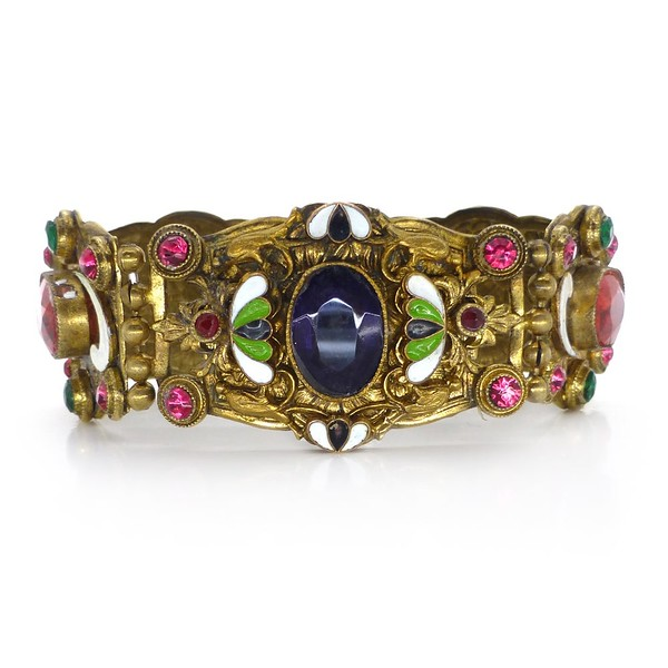 VINTAGE ART DECO CZECH GOLD TONE ENAMEL PURPLE & PINK GLASS BRACELET