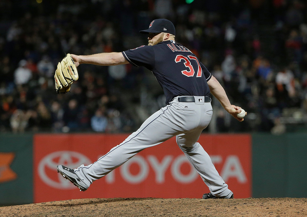 . Cleveland Indians pitcher Cody Allen (37) throws a warm up pitch during the ninth inning of a baseball game against the San Francisco Giants in San Francisco, Tuesday, July 18, 2017. The Giants won 2-1 in ten innings. (AP Photo/Jeff Chiu)