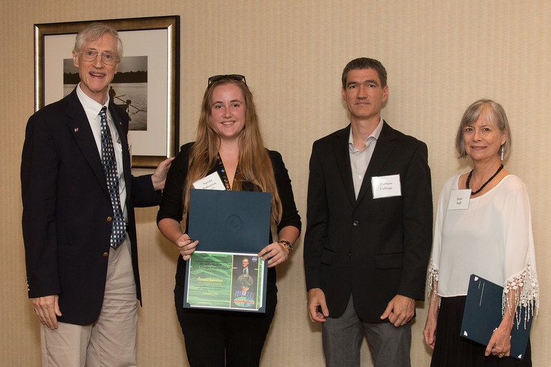 "Awardee Sarena Robertson with John Mather, Matthew Collinge (Maryland Space Grant Consortium), and Janie Nall (GSFC) -- An award luncheon, ""Dr. John Mather Nobel Scholars Program Award"", as part of the National Council of Space Grant Directors and the Maryland Space Grant Consortium, Greenbelt, MD July 28, 2017"