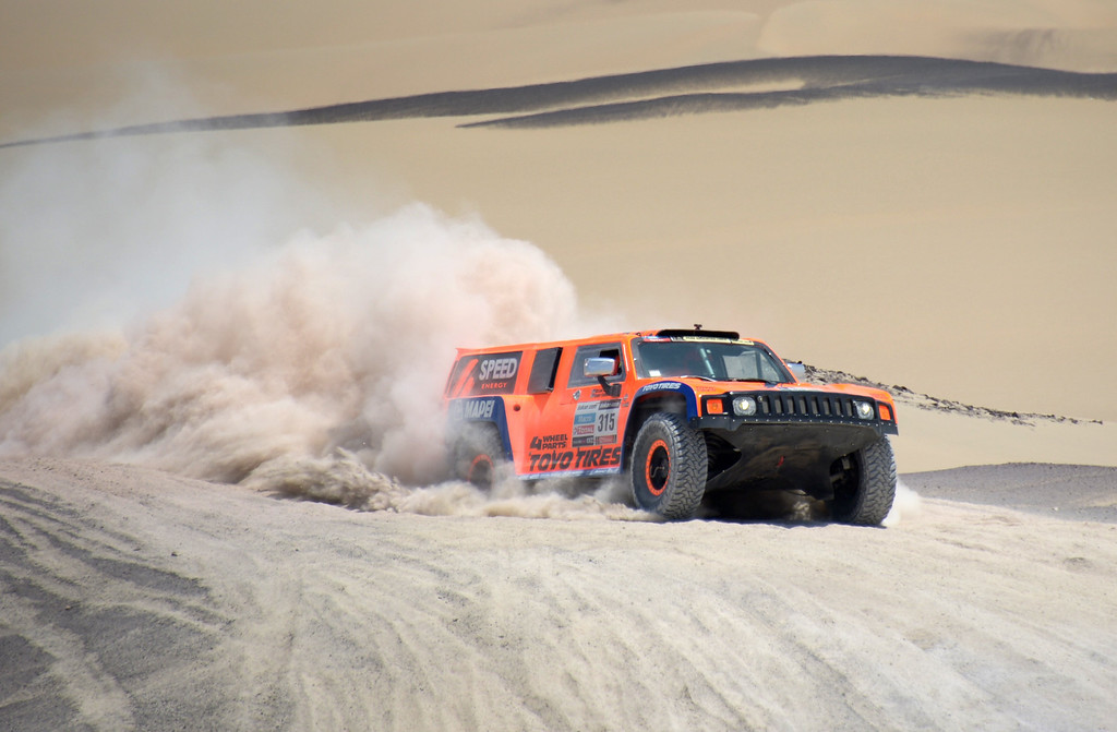. US Robby Gordon steers his Hummer during Stage 3 of the Dakar Rally 2013 between Pisco and Nazca, Peru, on January 7, 2013. The rally will take place in Peru, Argentina and Chile from January 5-20.  FRANCK FIFE/AFP/Getty Images