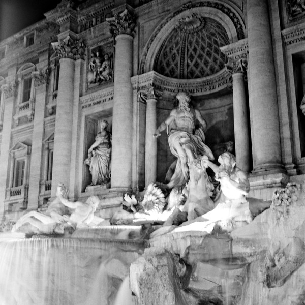 Trevi Fountain at Night in Rome 2:Italy beyond 70mm. Photographs taken on 80mm (Medium format film)