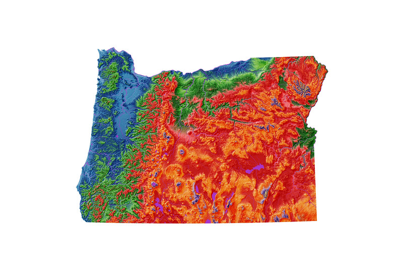Elevation map of Oregon