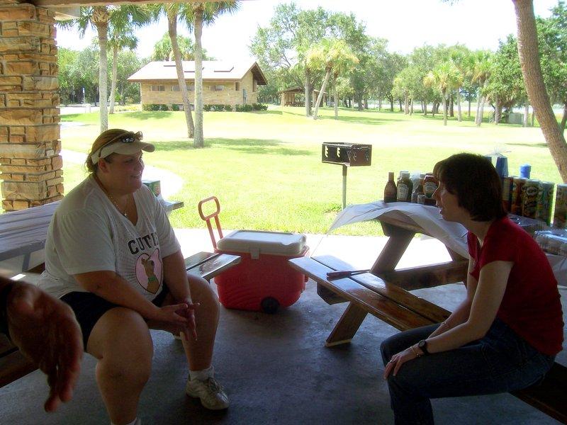 Michele chats with Sasha's owner.