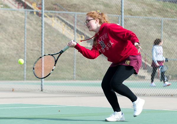 04/02/19 Wesley Bunnell | Staff New Britain girls tennis took on Wilcox Tech in their first matches of the season on Tuesday afternoon. Juju Oliver.