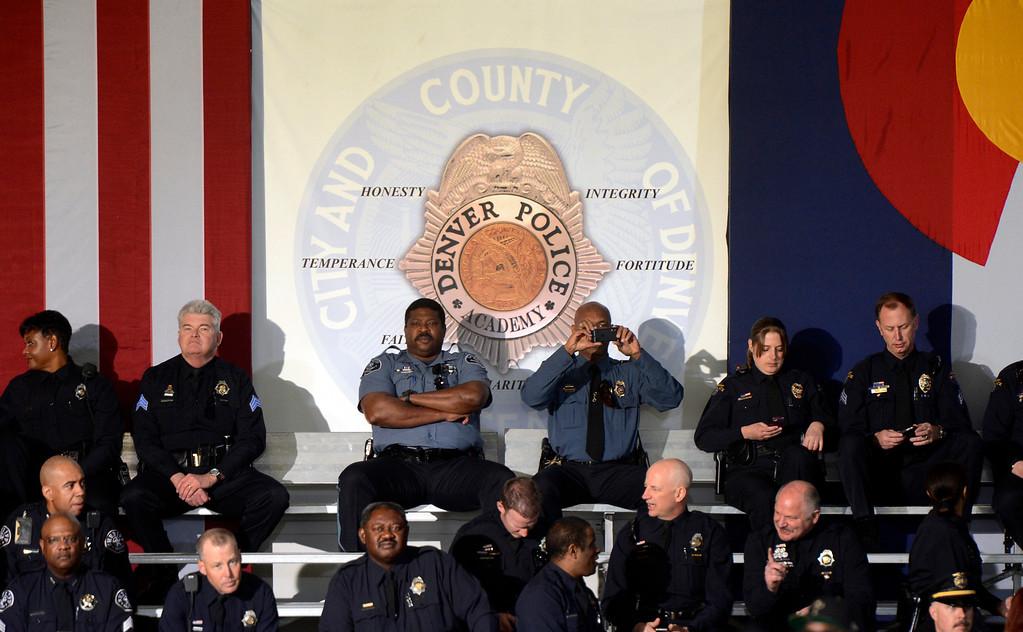 . DENVER, CO. - APRIL 03: Law enforcement officers await the arrival of President Barack Obama before a forum at the Denver Police Academy in Denver, CO April 03, 2013.  (Photo By Craig F. Walker/The Denver Post)