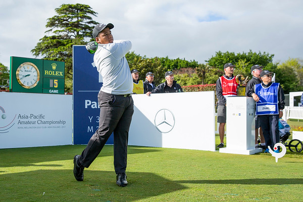 Hein Sithu from Myanmar hitting off the 1st tee on Day 1 of competition in the Asia-Pacific Amateur Championship tournament 2017 held at Royal Wellington Golf Club, in Heretaunga, Upper Hutt, New Zealand from 26 - 29 October 2017. Copyright John Mathews 2017.   www.megasportmedia.co.nz