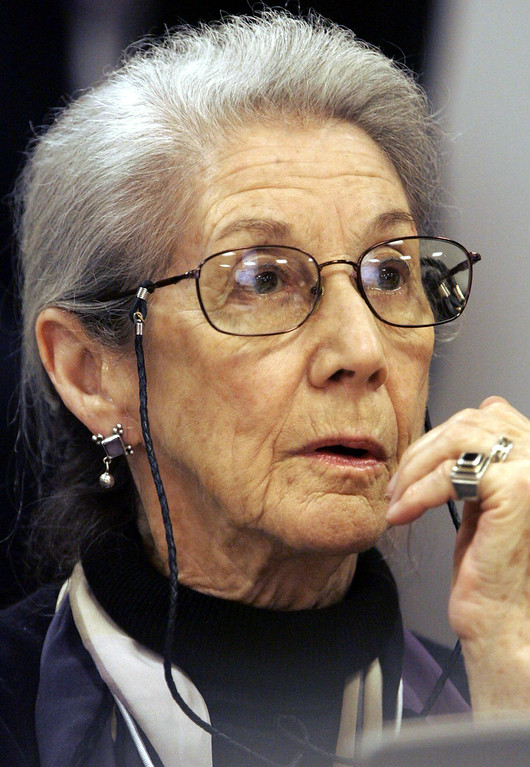 . South African author Nadine Gordimer addresses a panel session on AIDS during the Annual meeting of the World Economic Forum (WEF) in Davos, Switzerland, Thursday, Jan. 27, 2005. Top business leaders, heads of states from around the world and NGOs gather here until Sunday. (AP Photo/Keystone, Yoshiko Kusano)