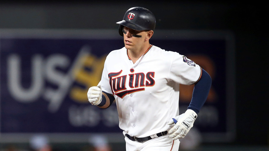 . Minnesota Twins\' Logan Morrison homers against the Cleveland Indians in a baseball game Thursday, May 31, 2018, in Minneapolis. (AP Photo/Jim Mone)