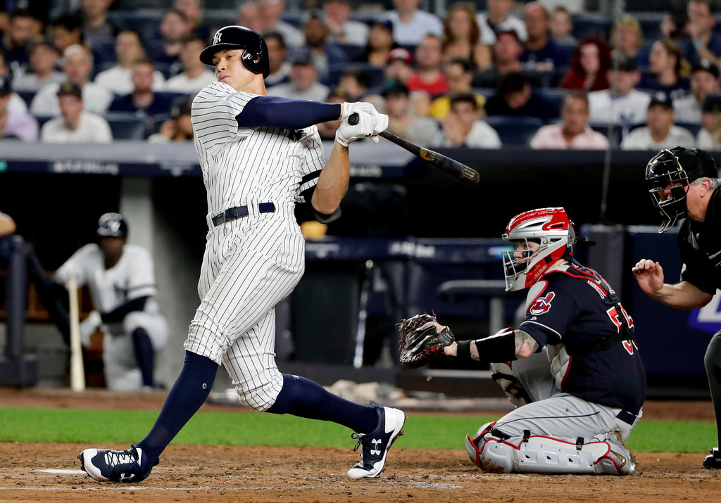 . New York Yankees\' Aaron Judge fouls off a ball during the fourth inning in Game 3 of baseball\'s American League Division Series against the Cleveland Indians, Sunday, Oct. 8, 2017, in New York. (AP Photo/Frank Franklin II)