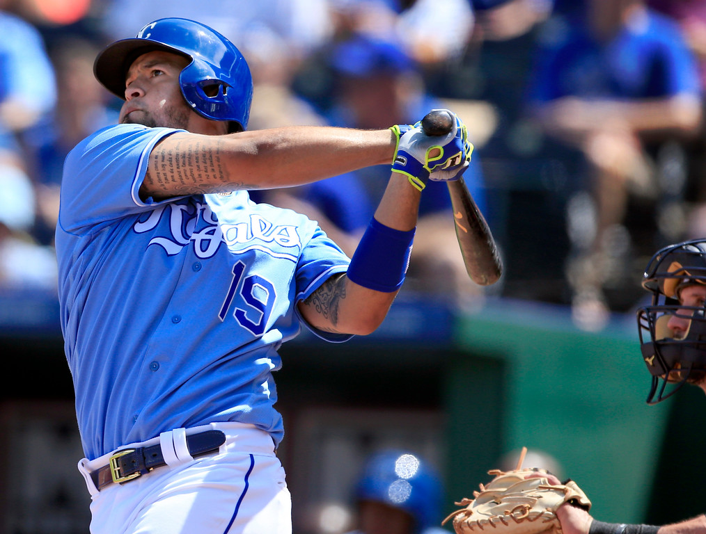 . Kansas City Royals\' Cheslor Cuthbert hits a solo home run off Cleveland Indians starting pitcher Danny Salazar during the fourth inning of a baseball game at Kauffman Stadium in Kansas City, Mo., Sunday, Aug. 20, 2017. (AP Photo/Orlin Wagner)