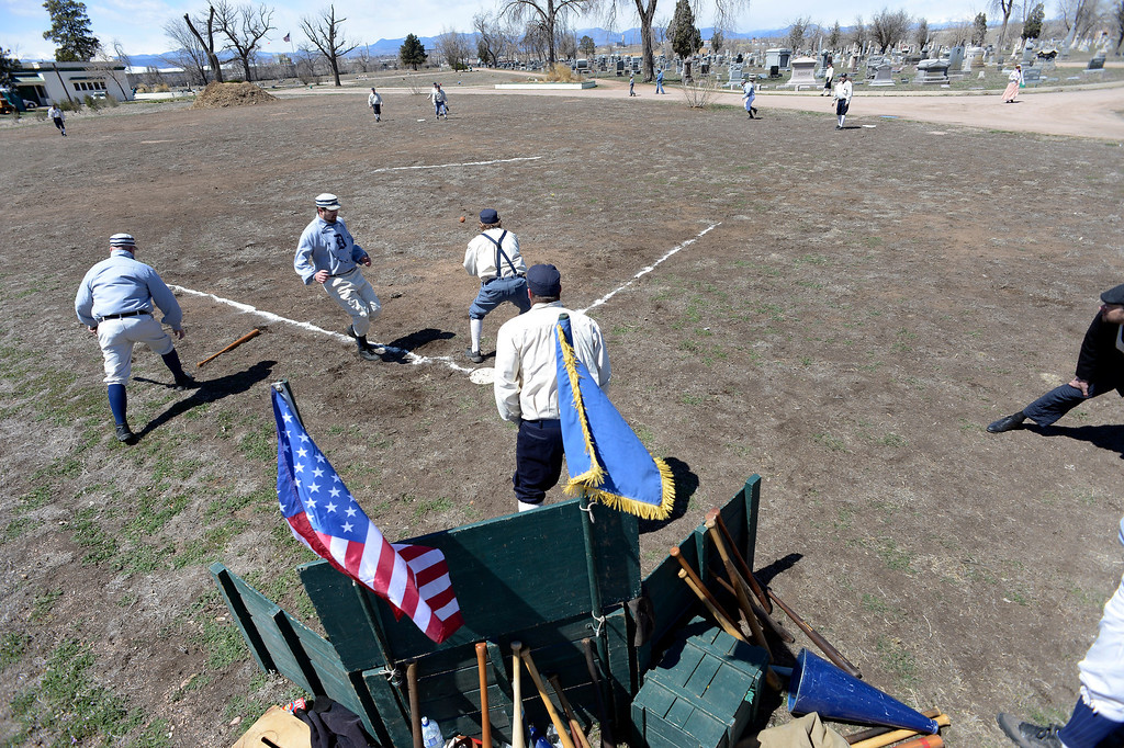. DENVER, CO. - APRIL 14: The Central City Stars take on the Denver Blue Stockings in a vintage baseball game April 14, 2013 at  Riverside Cemetery in Denver. The teams play at Riverside Cemetery at lest once a year. (Photo By John Leyba/The Denver Post)