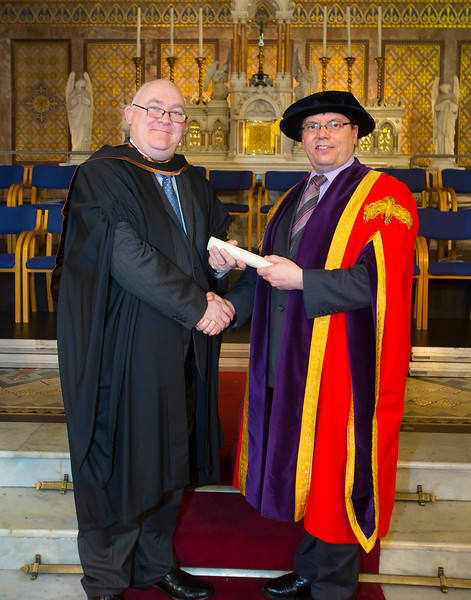 06/01/2015. FREE TO USE IMAGE. WIT (Waterford Institute of Technology) Conferring, Pictured is Michael Browne, Kilmacthomas, Co. Waterford who graduated Higher Diploma in Business, also pictured is Dr. Ruaidhrí Neavyn, President WIT. Picture: Patrick Browne