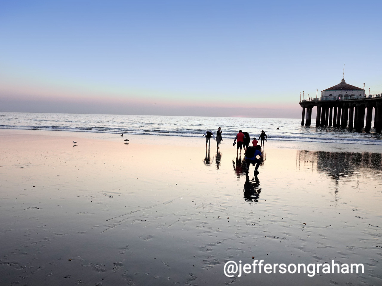 A wet low tide in Manhattan Beach
