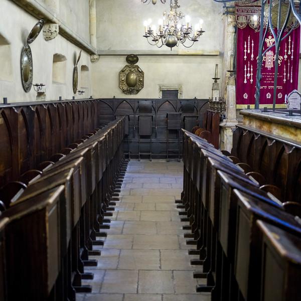 Pews in a synagogue, Prague, Czech Republic