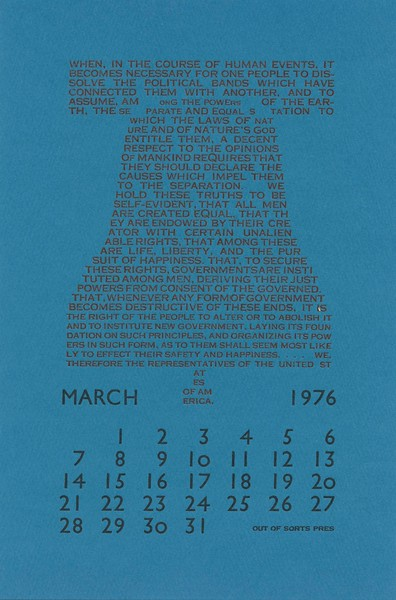 March, 1976, Out of Sorts Pres