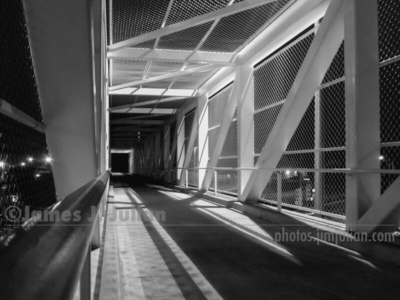 Pedestrian Bridge Topside in the Evening 2 BW