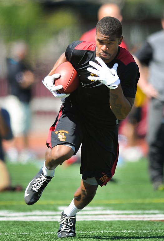 . Wide receiver De\'Von Flournoy runs upfield during a pass drill at USC Pro Day, Wednesday, March 12, 2014, at USC. (Photo by Michael Owen Baker/L.A. Daily News)