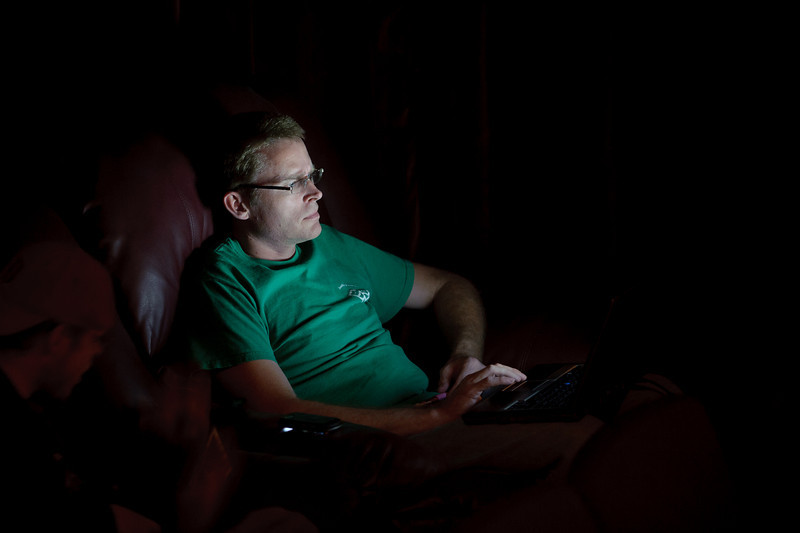 Sometimes I let my eyes wander from the stage. If I find good light, I chase it. That's a bright laptop! Brian Boynton is the house manager.