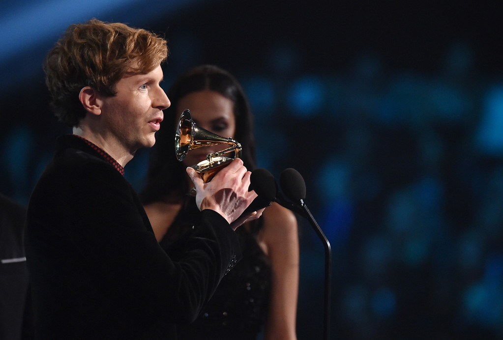 . Beck accepts the award for best rock album for �Morning Phase� at the 57th annual Grammy Awards on Sunday, Feb. 8, 2015, in Los Angeles. (Photo by John Shearer/Invision/AP)