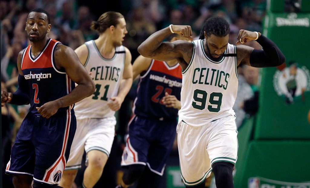 . Boston Celtics forward Jae Crowder (99) celebrates his basket against the Washington Wizards during the fourth quarter of Game 7 of a second-round NBA basketball playoff series, Monday, May 15, 2017, in Boston. (AP Photo/Charles Krupa)