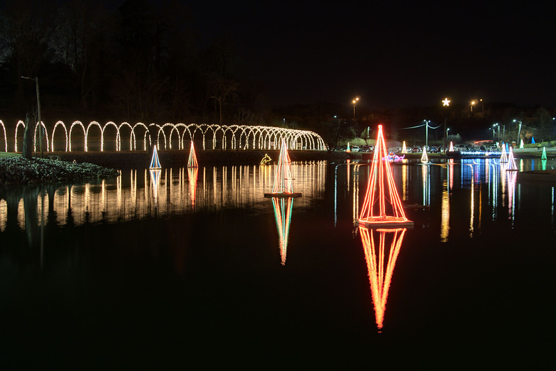 Lights float on the large pond during the Xfinity Christmas at Chilhowie Park in Knoxville, TN on Friday, December 12, 2014. Copyright 2014 Jason Barnette