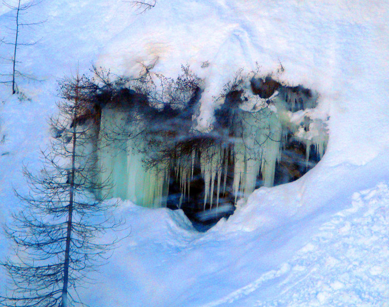 My other secret reason for coming was to continue my search for the elusive European yeti Gigantopithecus modernis yetii. Deep in a forest I spied this lair from a chairlift. Note the entrance chute in the snowbank - something clearly lives here - but what? I'll just have to make another trip when I can ski super-steep, off piste, forested powder... :)