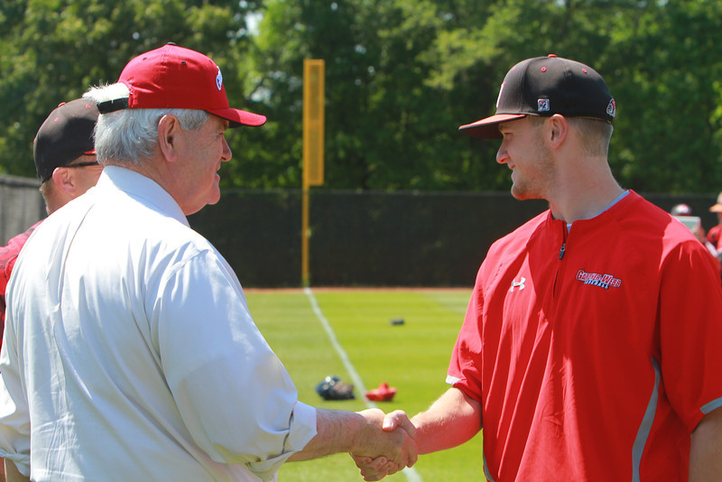 Newt Gingrich visits Gardner-Webb University to throw the first pitch of a GWU baseball game versus VMI.