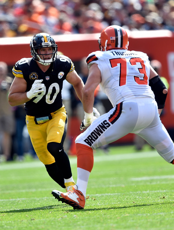 . Pittsburgh Steelers linebacker T.J. Watt (90) tries to get past Cleveland Browns tackle Joe Thomas (73) during the second half of an NFL football game, Sunday, Sept. 10, 2017, in Cleveland. (AP Photo/David Richard)