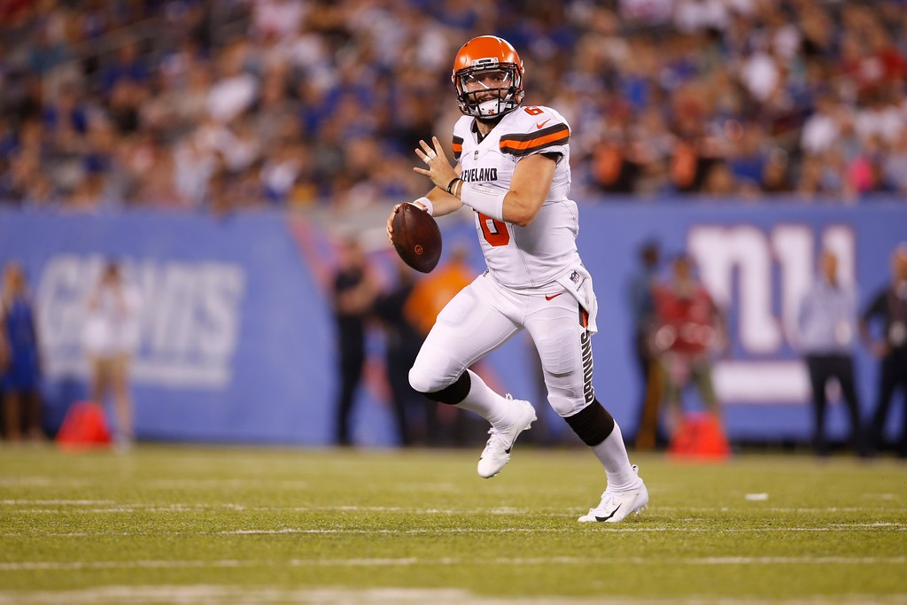 . Cleveland Browns quarterback Baker Mayfield (6) looks to pass during the second half of a preseason NFL football game against the New York Giants Thursday, Aug. 9, 2018, in East Rutherford, N.J. (AP Photo/Adam Hunger)
