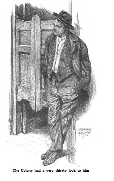 A drawing of Arthur Lang in front of Riley's, formerly The Meeker Inn. Mr. Lang claimed to have been drunk for 10 years before he went to the Self Master Colony to get help. An article appeared in the American Magazine about Arthur Lang and The Self Master Colony in 1914.