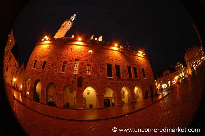 Town Hall (Raekoda) at Night - Estonia