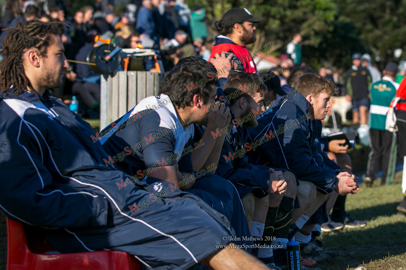 Petone reserve bench at the Wellington Premier  rugby union match (Swindale Shield) between Old Boys University RFC (white) and Petone (blue) at Nairnville Park, Wellington, New Zealand on 2 June 2018. SCORE: Petone 5, OBU 19 Copyright John Mathews 2018 www.megasportmedia.co.nz