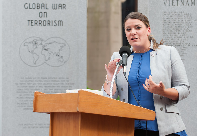 09/11/18  Wesley Bunnell | Staff  New Britain unveiled its newest monument in Central Park which is dedicated to the War on Terror following the 9/11 attacks. Mayor Erin Stewart speaks.