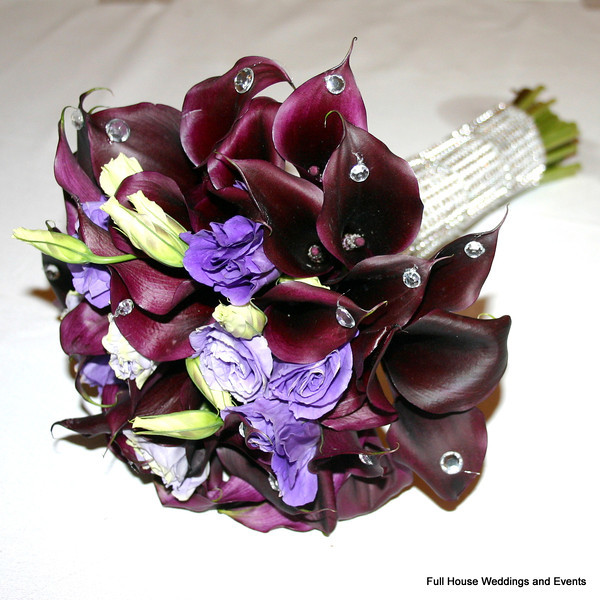 Bouquet - Eggplant Mini Calla Lily, Purple Lisianthus with crystal accents and acrylic rhinestone wrap