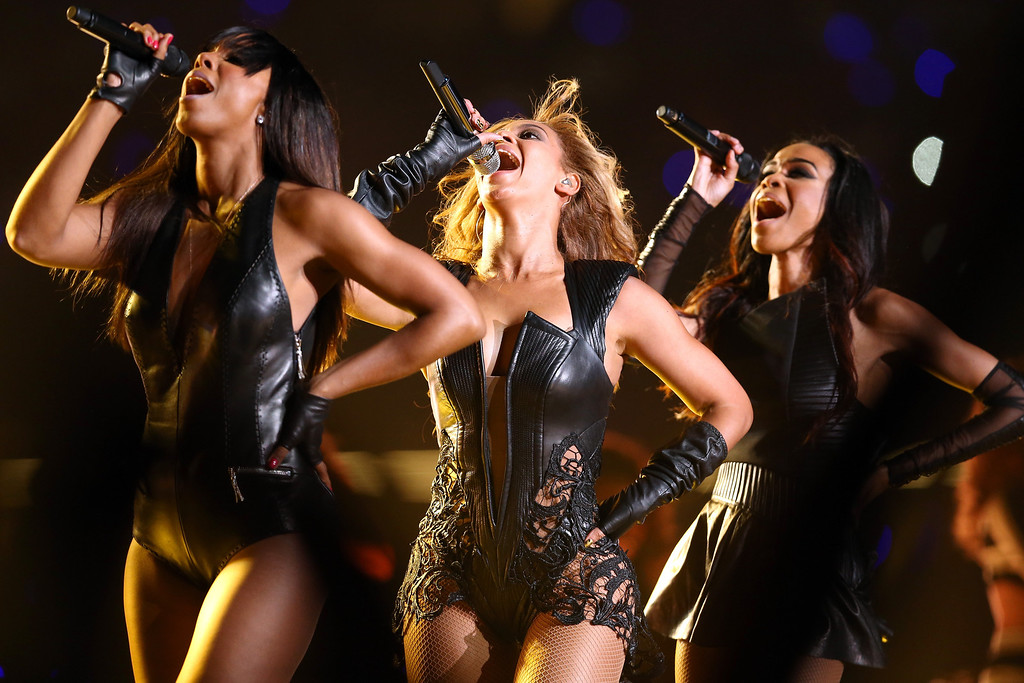 . Kelly Rowland, Beyonce Knowles and Michelle Williams of Destinys Child perform during the Pepsi Super Bowl XLVII Halftime Show at Mercedes-Benz Superdome on February 3, 2013 in New Orleans, Louisiana.  (Photo by Christopher Polk/Getty Images)