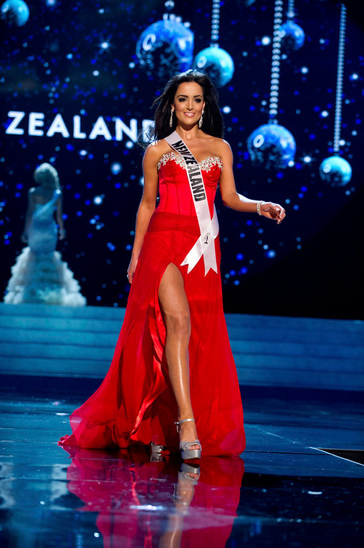 . Miss New Zealand Talia Bennett competes in an evening gown of her choice during the Evening Gown Competition of the 2012 Miss Universe Presentation Show in Las Vegas, Nevada December 13, 2012. The 89 Miss Universe Contestants will compete for the Diamond Nexus Crown on December 19, 2012. REUTERS/ Darren Decker/Miss Universe Organization/Handout