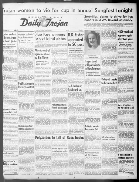 Daily Trojan, Vol. 37, No. 38, December 28, 1945