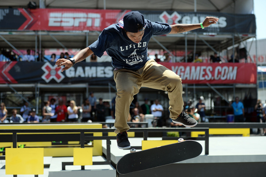 . Felipe Gustavo competes during the  X Games Los Angeles SLS Select Series event at LA Live Thursday, August 1, 2013. (Hans Gutknecht/Los Angeles Daily News)