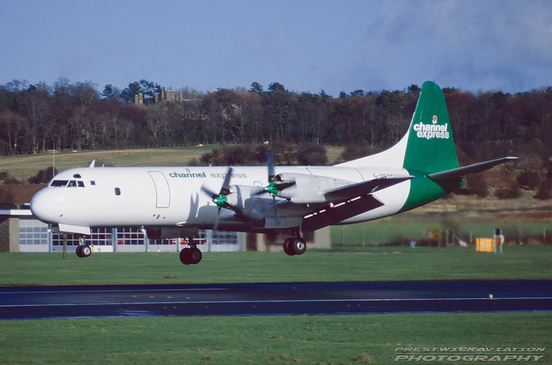 G-OFRT. Lockheed L-118(C)F Electra. Channel Express. Prestwick. April. 1998.