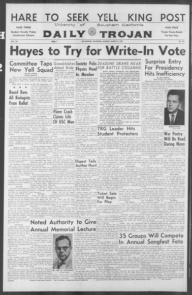 Daily Trojan, Vol. 53, No. 82, March 05, 1962