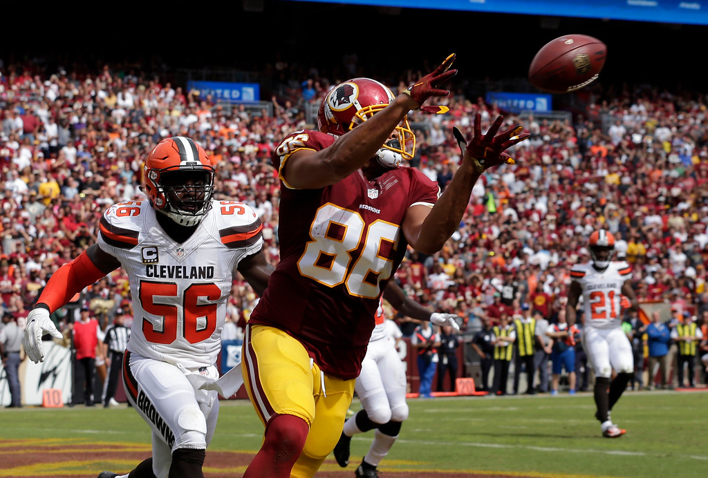 . Washington Redskins tight end Jordan Reed (86) catches a touchdown pass in front of Cleveland Browns inside linebacker Demario Davis (56) during the first half of an NFL football game Sunday, Oct. 2, 2016, in Landover, Md. (AP Photo/Chuck Burton)