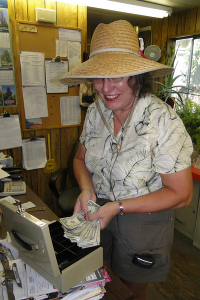 Jane counting the Money! July 2010