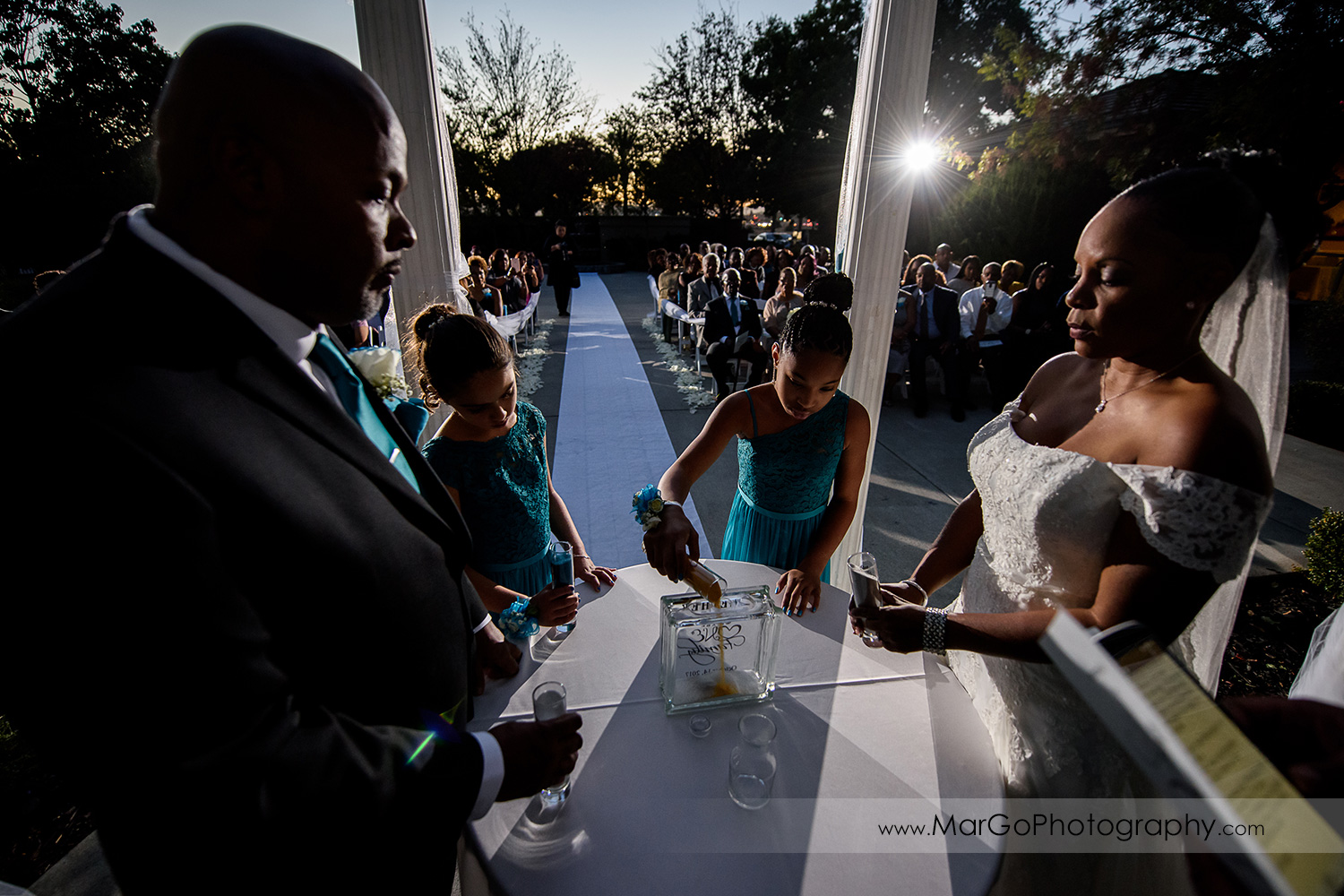 wedding unity sand ceremony at Wedgewood Wedding & Banquet Center in Brentwood