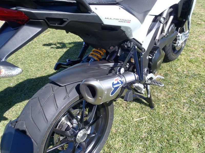 Multistrada 1200 cut down Termignoni exhaust end can / silencer - see the 'how to' article:  Multistrada 1200 Full Termignoni Exhaust 'Stubby' Conversion