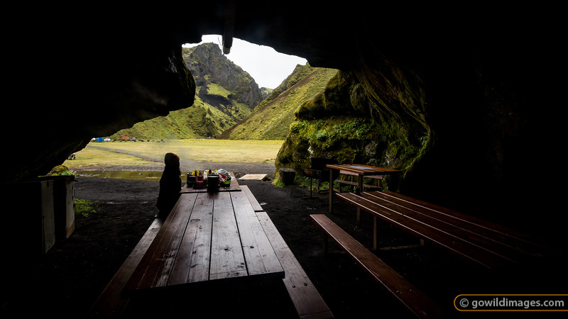 Inside the 'kitchen cave' at Þhakgil campground. On dusk, the caretaker lights tea candles, scattered around the walls, for even greater ambience.