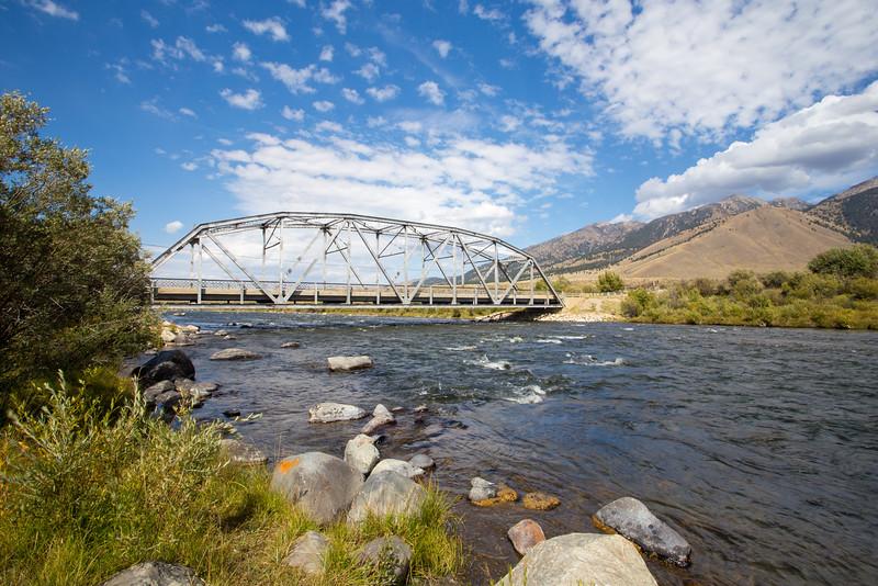 Bridge above flowing river. 8976