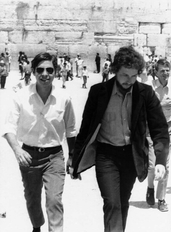 . Singer-songwriter Bob Dylan, right, is shown with an unidentified friend at the Wailing Wall in Jerusalem, April 6, 1971.   Dylan celebrated his 30th birthday in Israel and tried to shun publicity. (AP Photo)